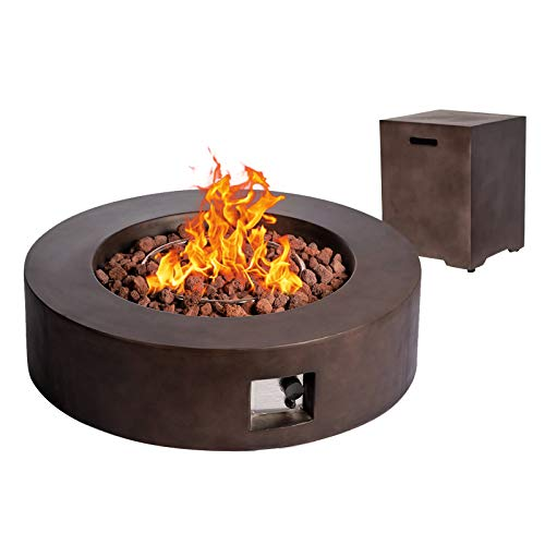 Dmode 2-Piece Outdoor Propane Firepit Table Set, 50,000 BTU Dark Bronze Round Gas Fire Pit with Tank Holder,Stainless Steel Burner and Free Lava Rocks for Garden/Courtyard/Balcony.size 42'' x42''x13''