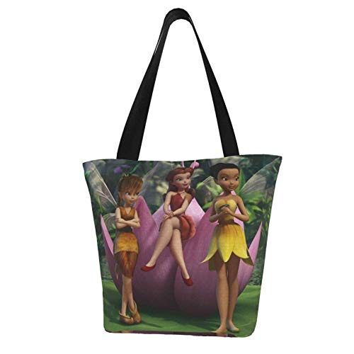 Tinker Bell Cartoon Women Tote Bag Canvas Handbags Casual Ladies Shoulder Bags for Shopping Purse