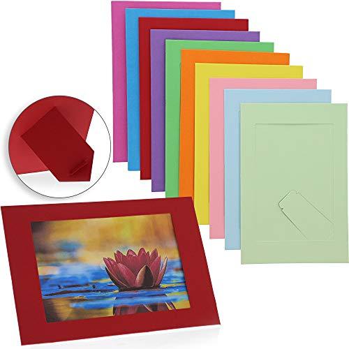 Juvale Caballete de cartón para Marcos de Fotos (50 Unidades) 4 x 6 Pulgadas, 10 Colores