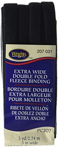 Wrights 117-207-031 Extra Wide Double Fold Fleece Binding Tape, Black, 3-Yard