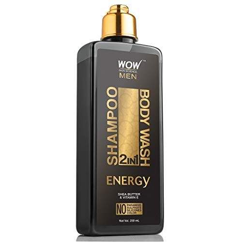 WOW Energy 2-in-1 Shampoo & Body Wash - Moisturization For Cleaner, Healthy Hair & Smoother Skin - Shea Butter & Vitamin E To Help Reduce Acne Breakout & Help Protect Skin Against Dryness - 250 mL