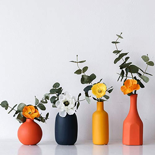 Vases Vase Dried Flower Decoration Living Room Flower Arrangement TV Cabinet Dining Table Decoration Home Accessories Vase Ceramic Four-piece Set + Matching Different Flowers To Give Space A Bright Co