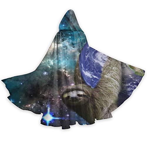 DPQZ - Capa con capucha para Halloween, diseo de perezoso espacial en la tierra, luna galaxia, bruja, Navidad, para adultos, cosplay, fiesta