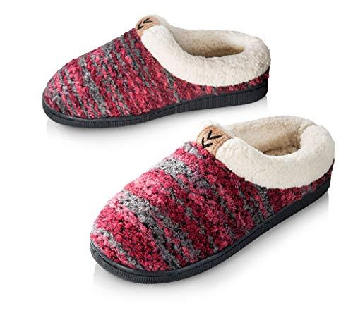 Pupeez Girls Knitted Fleece Lined Clog Slippers Wine 2/3