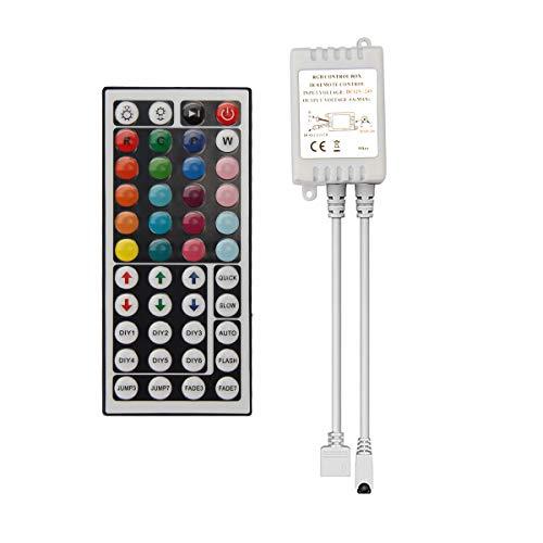 Uhomely DC12V-24V LED RGB 44 Tasten IR Controller mit RGB Empfänger Box, einstellbarer Dimmer für 5050 3528 LED Lichtleisten