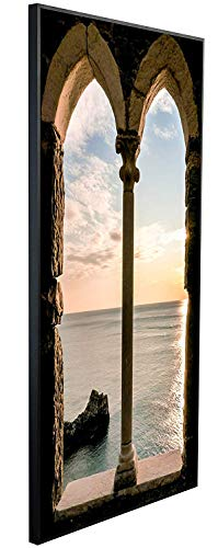 Ecowelle Infrarotheizung mit Bild   600 Watt   60x120x2 cm   Infrarot Heizung    Made in Germany  d 71 Meer durch altes Fenster