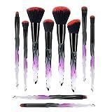Harmonious Brochas de maquillaje con mango de diamante, 10 unidades, profesionales, coloridas brochas de sombra de ojos y pincel de labios (fucsia)