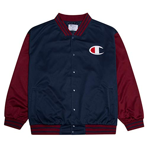Champion Mens Jacket Big and Tall Jackets for Men Varsity Bomber Jacket Men Burgundy/Navy 2X