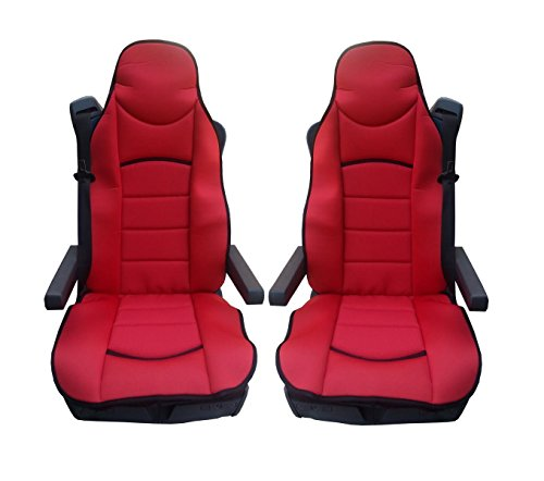 2x UNIVERSAL RED PREMIUM COMFORT PADDED SEAT COVERS CUSHION FOR TRUCK LORRY CAB