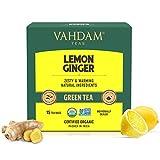 VAHDAM, Lemon Ginger Green Tea- 15 Tea Bags   100% Natural Ingredients  
