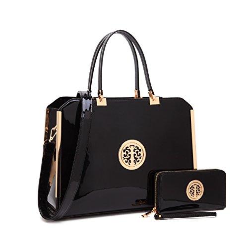MMK collection Women Fashion Matching Satchel handbags with wallet(6900)~Designer Purse ~Multi Pocket ~ Beautiful Designer Handbag Set (02-2022(10-168)BK)