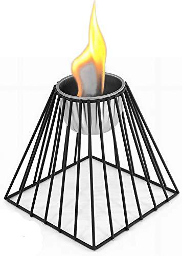 Tischkamin Bio-Ethanol Kamin Pulverbeschichtetes Metall Tischdeko Feuerschale Tischfeuer - ver.Modelle-schwarz - Bio-Ethanol-Brenner aus Edelstahl (Pyramide: 13,5 x 13,5 x 15,5 cm)