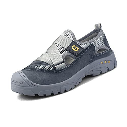 Aingrirn Zapatos de Seguridad Hombre Mujer con Puntera de Acero Ultra Liviano Transpirables y cómodo Zapatillas de Trabajo Unisex (Color : Grey, Size : 40 EU)