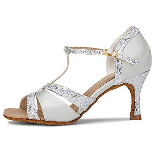 JIA JIA 20519 Damen Sandalen Ausgestelltes Heel Super-Satin Latein Tanzschuhe Silber, 38 - 4