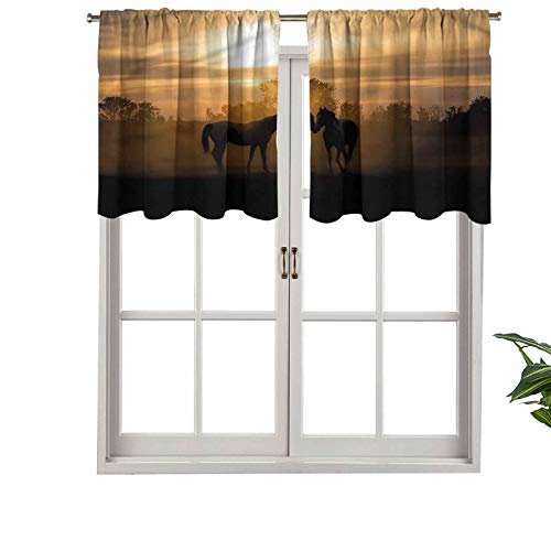 Hiiiman Elegant Rod Pocket Curtain Valances Stallions at Romantic Sunset, Set of 1, 36'x18' Home Decoration for Boys-Girls Room