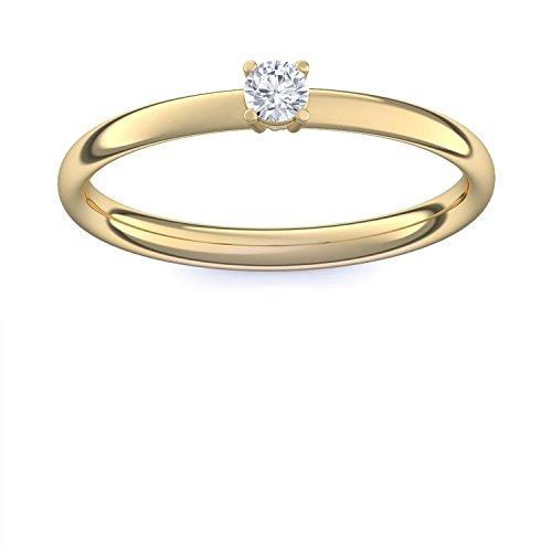 Verlobungsring 750 Goldring Diamant 0,08 Carat SI1/H + inkl. Luxusetui + - Verlbungsringe Gold Goldringe Diamant Brillant - Concinnity Amoonic Größe 58 (18.5) AM161 GG750BRFA58