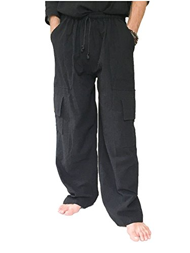 Love Quality Men's 100% Cotton Cargo Pants One Size Baggy Pants Drawstring Elastic Waist (Black)