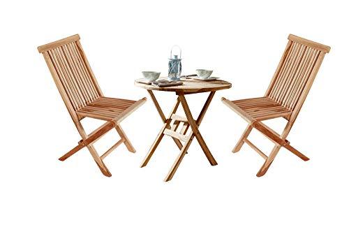 SAM 3-TLG. Gartengruppe Romario, Teak-Holz, 1x Tisch rund 60 cm + 2X Klappstuhl Menorca, Balkonmöbel klappbar