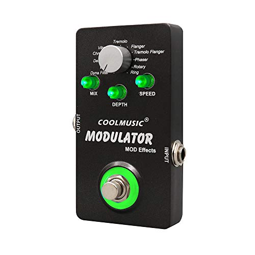 Coolmusic Digital Modulator Effect Pedal With 11 Modulation Effects True Bypass with 2.0cm Thin Body, Portable Size