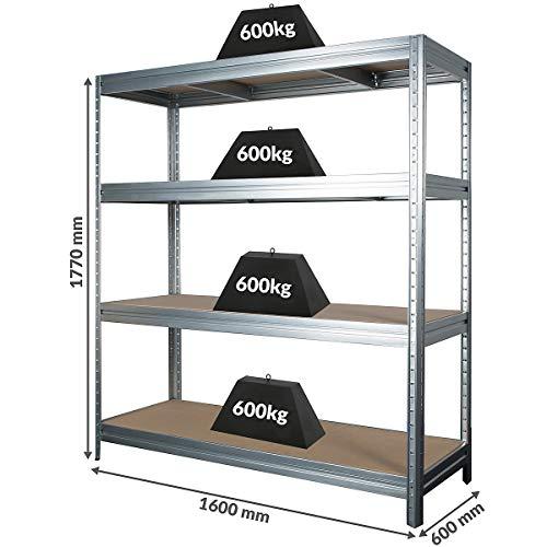 Stabiles Schwerlastregal | Tragkraft bis zu 600 Kg pro Fachboden | 1770 x 1600 x 600 mm | Kellerregal Stahlregal Garagenregal Lagerregal