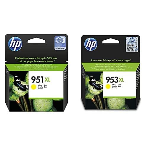 HP 951Xl Cn048Ae Amarillo, Cartucho De Tinta De Alta Capacidad Original, De 1.500 Páginas + 953Xl F6U18Ae, Amarillo, Cartucho De Tinta De Alta Capacidad Original