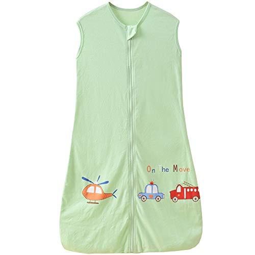 Saco de dormir para bebé de verano, 0,5 tog, para niñas y niños, recién nacidos (3-6 años), diseño de avión verde