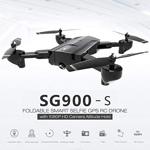 Dailyinshop SG900-S 2.4G RC Drone Plegable Selfie Smart GPS FPV Quadcopter con 1080P HD Cámara Altitude Hold Follow Me One Key Return (Color: Negro)