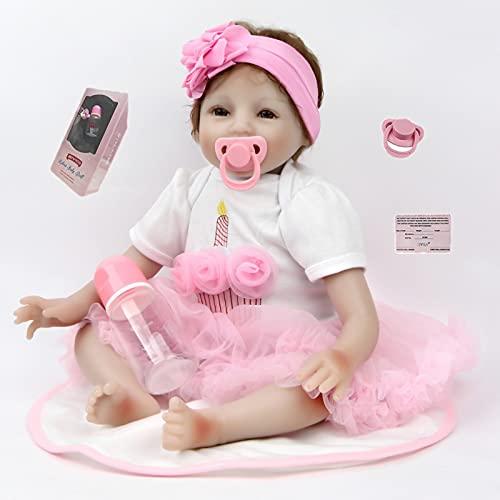 Antboat 55 cm Realistic Reborn Baby Muñecos Bebé 22 ' Vinyl Newborn Baby Dolls Recién Nacido de Silicona Regalo