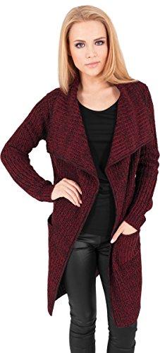 Urban Classics Damen Jacke Mantel Knitted Long Cape mehrfarbig (Burgundy) Large