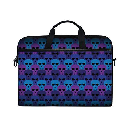 COOSUN Cool Blue Schedel Patroon Laptop Tas Schouder Messenger Tas Eenvoud Slanke Aktetas Commuter Tas Zakelijke Sleeve Draaghandvat Tas voor 14 inch naar 15.6 inch Laptop Notebook