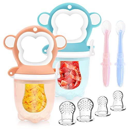 Fruchtsauger Baby - Obstsauger Baby ab 6 Monate, 2 Stück Fruchtschnuller für Obst und Gemüse, Schnuller BPA frei als Baby Zahnungshilfe mit 6 Silikon Sauger in 3 Größen und Baby Löffel