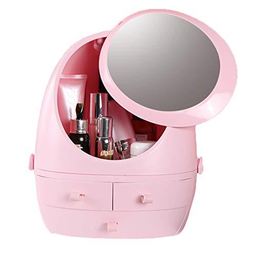 Mesh Organisateur Cosmétiques, LED Miroir Lighted Tiroir Étagère, Bureau Amovible Antipoussière Cosmétique Case,Rose