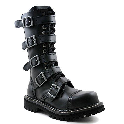 ANGRY ITCH - 14-Loch 5-Buckle Gothic Punk Army Ranger Leder Schwarz Schnallen Armee Stiefel mit RV & Stahlkappe 36-48 - Made in EU!, EU-Größe:EU-39