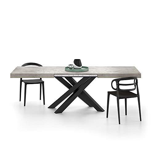 Mobili Fiver, Mesa Extensible Emma 160, Cemento Gris, con Patas Cruzadas Negras, Aglomerado y Melamina/Hierro, Made in Italy