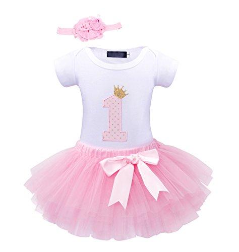 Edjude Vestido para Recién Nacidas Bebé Niña Fiesta de Cumpleaños Conjuntos de Ropa Mono+Falda+Diadema 1 año Rosa