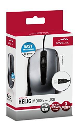 Speedlink 3-Tasten-Maus - RELIC Mouse USB (Für Rechts - und Linkshänder geeignet - bis zu 1000 DPI - optischer Sensor) PC / Computer wired Mouse grau