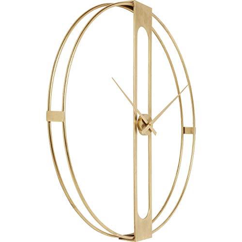 Kare Design Wanduhr Clip Gold Ø107cm, große Uhr in Gold, Designuhr, große XXL Dekouhr, moderne Wanduhren, (H/B/T) 107x107x15cm
