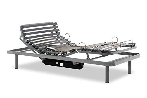 Gerialife® Cama Articulada Eléctrica Reforzada con Mando Inalámbrico (105x190, Plateado)