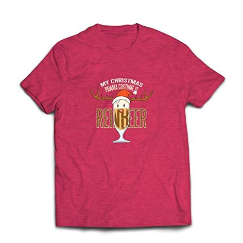 lepni.me Camisetas Hombre Reinbeer Disfraz de Pijama de Navidad, Regalos para Amantes de la Cerveza (Medium Brezo Rojo Multicolor)