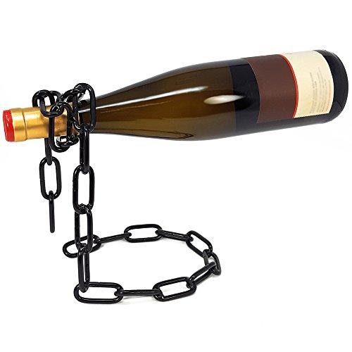 """com-four® Dekorativer Flaschenhalter Weinhalter Weinflaschenhalter""""Die schwebende Flasche"""" (01 Stück - Kette schwarz)"""