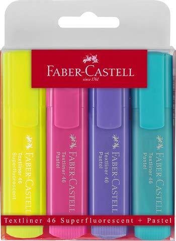 Faber Castell - Evidenziatori Textliner 1546 superflourescent + pastel Set 4 pz- colori ass.