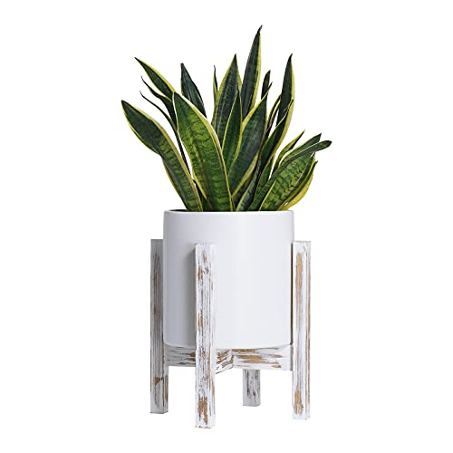 Giikin Mid Century Wood Plant Stand Potted Plant Flower Holder Farmhouse Plant Stand Indoor Outdoor Display Rack Hold Up to 10 Inches Planter, Weathered White (Excluding Plants & Pot)