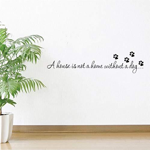 GVFTG Ein Haus ist nicht Thuis zonder een hond Paw Print muursticker voor slaapkamer woonkamer citaten stickers behang DIY Home Art Decoratie 23X102cm