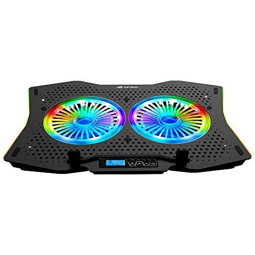 """Base para Notebook C3Tech NBC-400BK 17"""" Preto Gamer - Refrigerada com 2 Coolers de 140mm, RGB nos coolers e nas laterais, 6 níveis de velocidades nos coolers e regulagem de altura em 7 posições"""
