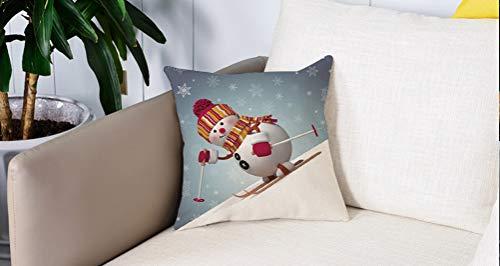 Square Soft and Cozy Pillow Covers,Muñeco de nieve, Esquí Muñeco de nieve en estilo 3D con copos de nieve adornados Actividad de i,Funda para Decorar Sofá Dormitorio Decoración Funda de almohada.