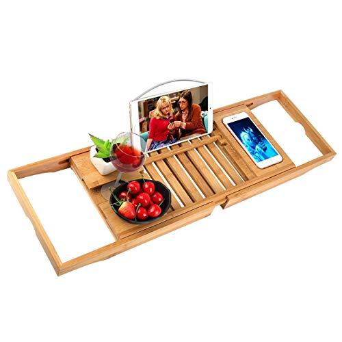 FXYY Bamboo Bath Caddy Tray voor uw boek, tablet, smartphone, wijnglas, houten badkuip Caddy Tray met uittrekbare zijkanten