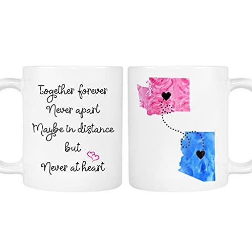 Long Distance Personalized Relationship Mug, Custom States, Girlfriend, Boyfriend, Family