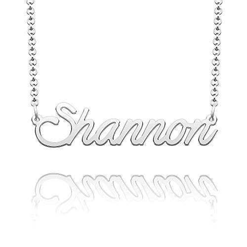 CLY Jewelry Name Necklace of Silver Plated Customized with Personalized Gift for Women Silver