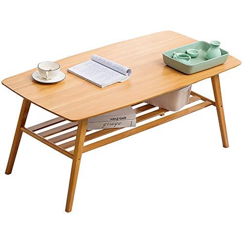 Actoor Rectangular Mesa de Café Mesa de Centro Tapa de Madera Doble Capa Fácil Montaje para Sala de Estar Oficina B,100×50×50cm
