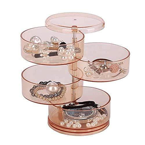 TEAYASON Pequeña caja organizadora de joyas transparente con rotación de 360 grados para pendientes, estuche portátil de 4 niveles para mujeres, marrón, marrón